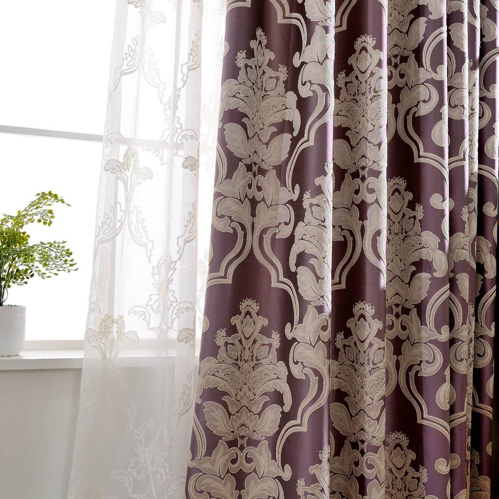 purple classic damascus drapes living room blackout curtains for sale