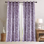 Purple Curtains White Bamboo Leaf Drapes