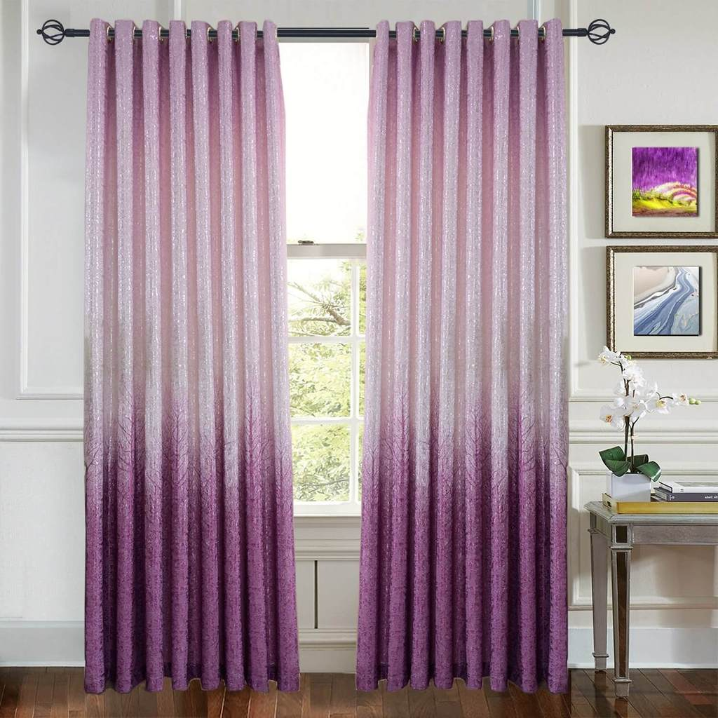 Purple tree curtains silvery shiny drapes for living room
