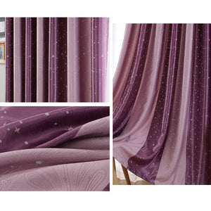 Colorful Night Sky Star Striped Curtains Living Room Blackout Drapes 2 Panels