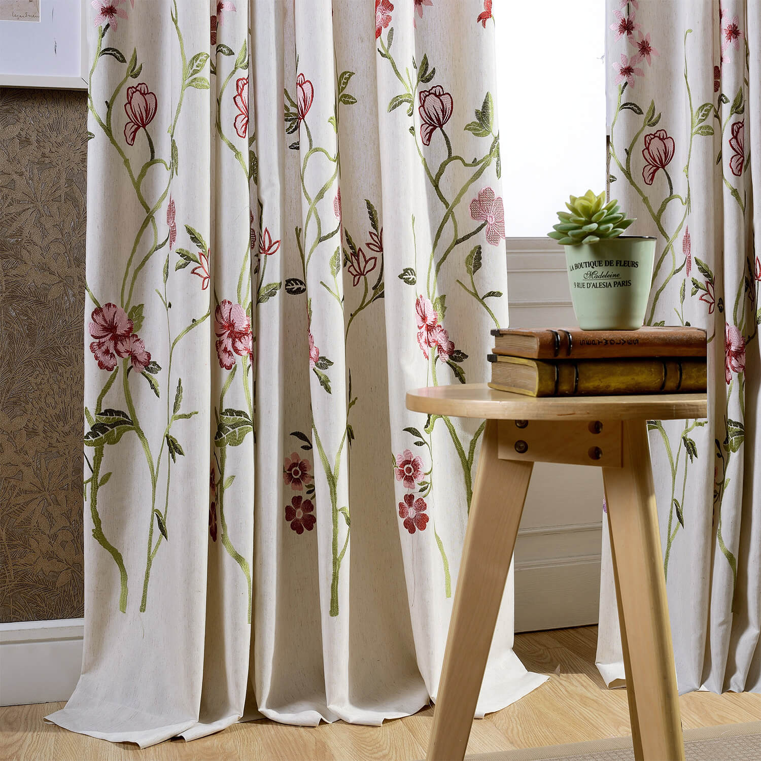 Red Flower Linen Curtains Exquisite Embroidered Drapes for Living Room - Anady Top Space Design