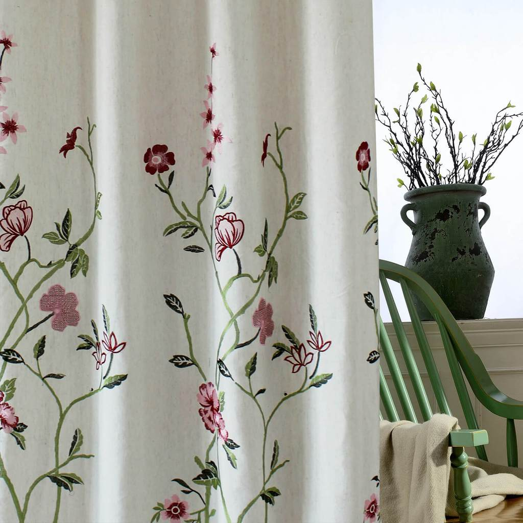 Red flower linen curtains exquisite embroidered drapes for living room