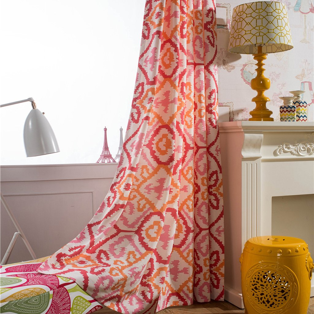 Red pink orange drapes geometry living room curtains for sale