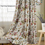 Blackout Red Flower Curtains Birds Drapes for Bedroom 1 Set of 2 Panels - Anady Top Space Design