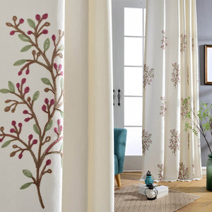Purple Bodacious Flower White Embroidered Curtains for Bedroom
