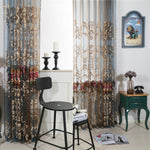 Anady Top Luxurious Embroidered Flower Blue Sheer Curtains 2Panels - Anady Top Space Design