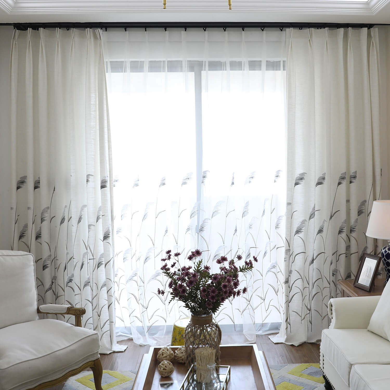 Reed Country Curtains Cotton Linen Drapes For Bedroom 1 Set Of 2