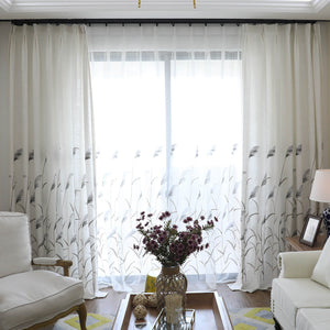 Reed Country Curtains Cotton Linen Drapes for Bedroom 1 Set of 2 Panels - Anady Top Space Design