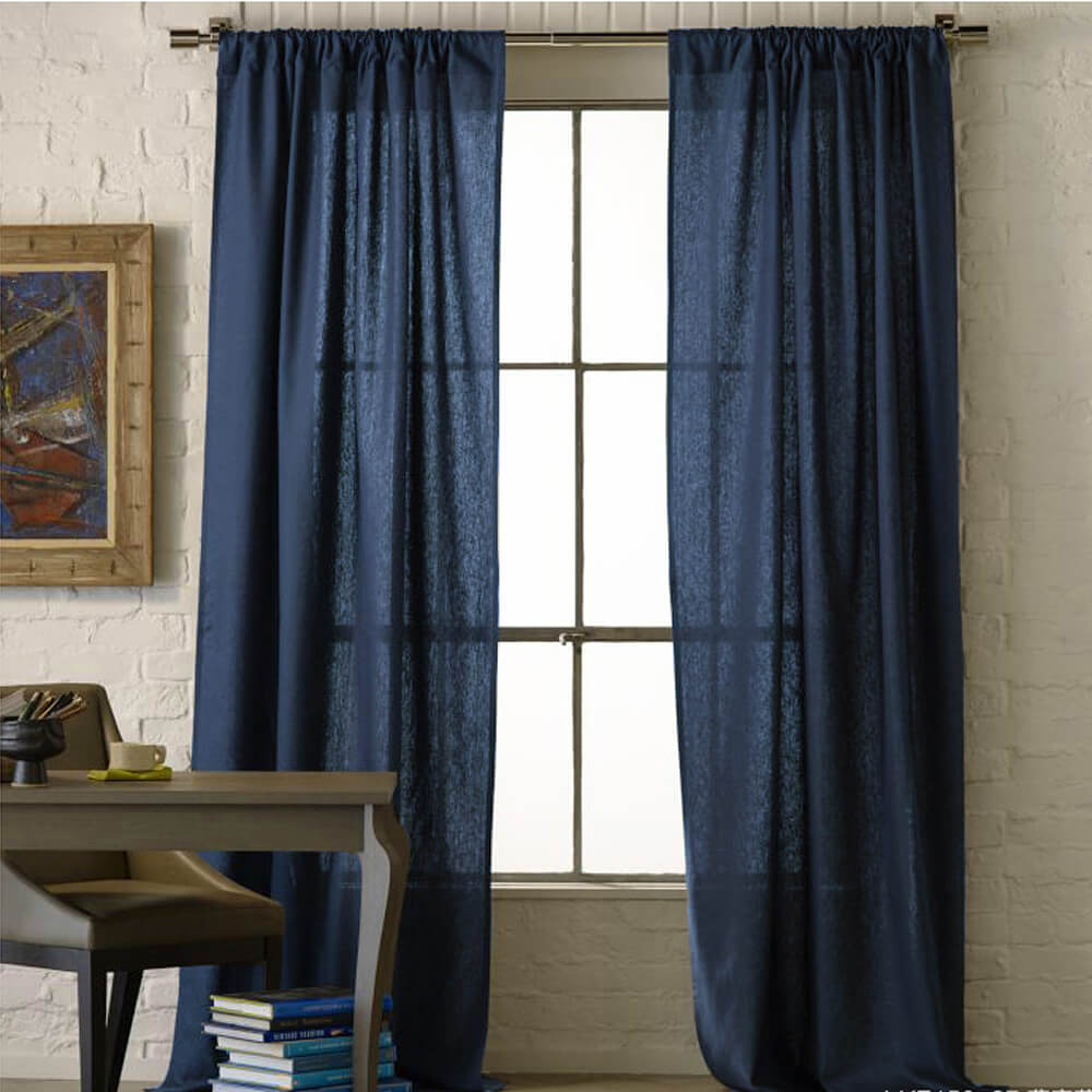 Navy Blue Natural Linen Curtains and Drapes 2 Panels for Living Room