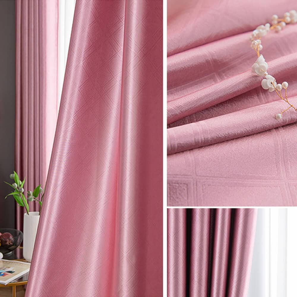 rose pink kitchen window drapes bedroom thermal blackout curtains for sale