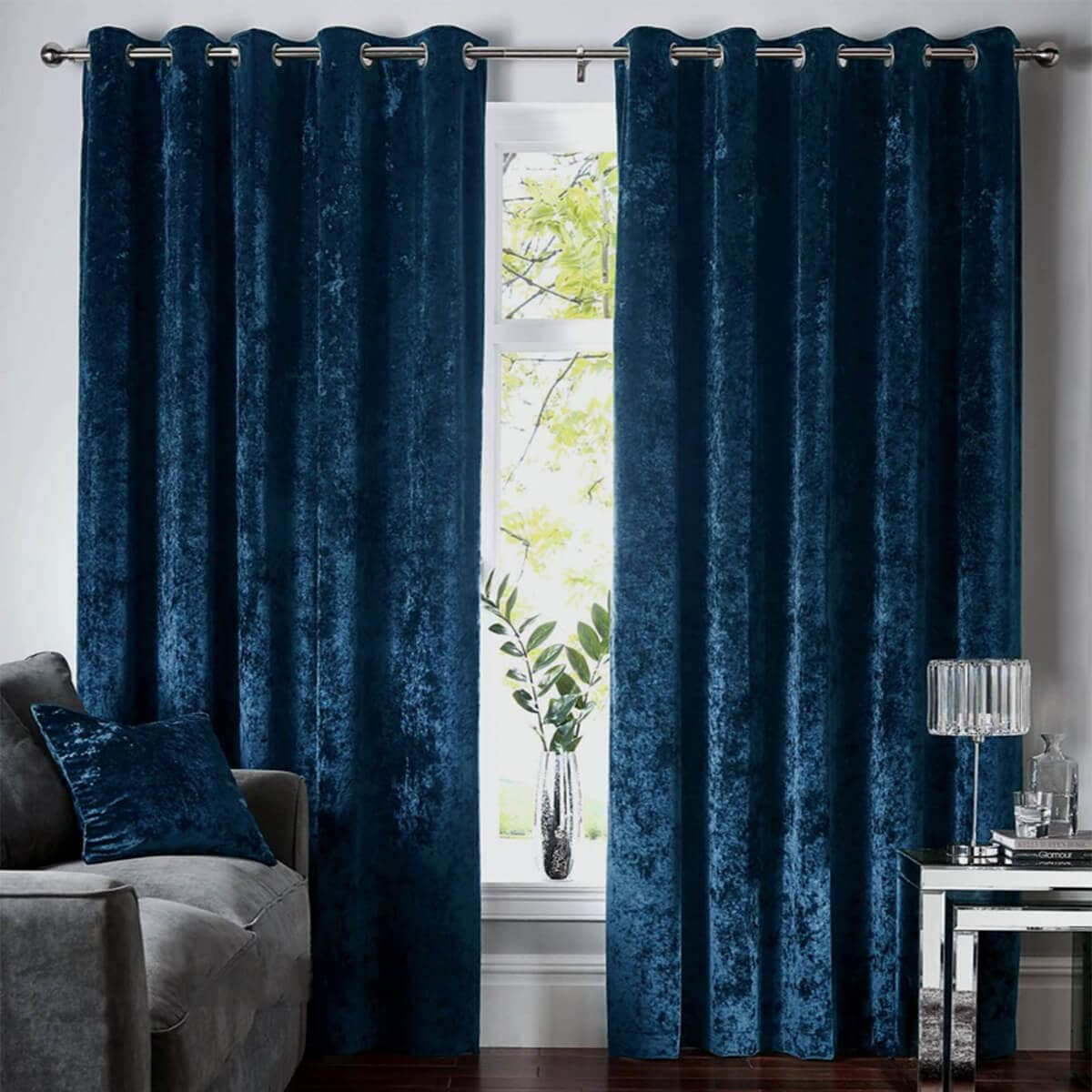 Royal Blue Velvet Curtains And Drapes For Living Room Bedroom 1 Set Of Anady Top