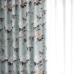 Serenity Blue Door Curtains Flower Blackout Drapes 2 Panels