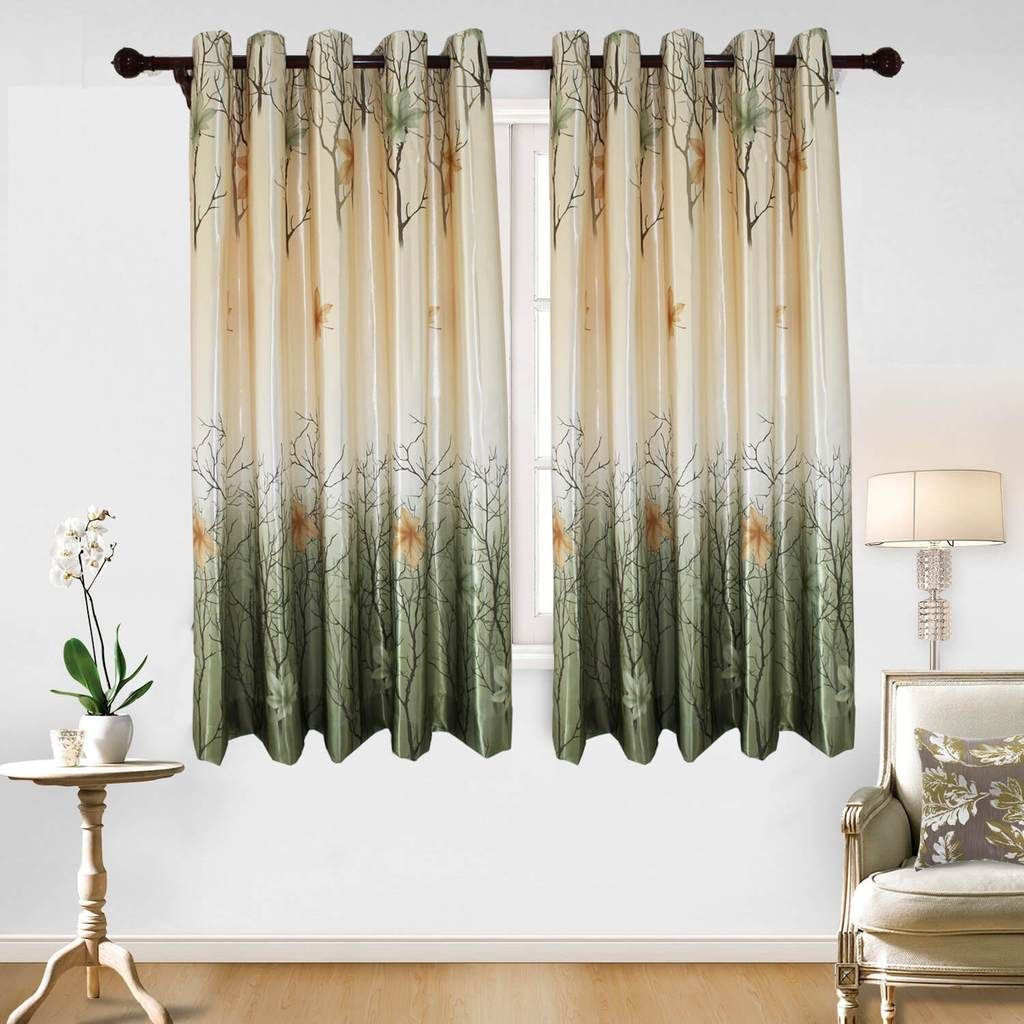 short green maple tree curtains for bedroom