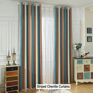 Blue/Brown/Beige Striped Curtains Grommet Top Chenille Drapes for Bedroom Set of 2 Panels - Anady Top Space Design
