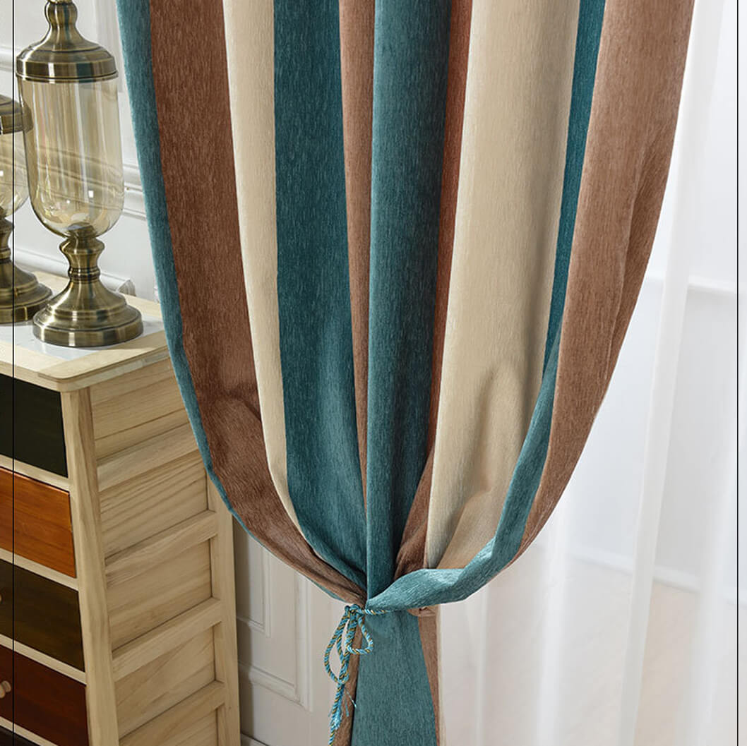Blue Brown Beige Striped Curtains Grommet Top Chenille