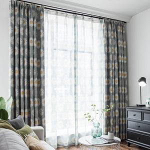 White Daisy Gray Curtains and Drapes for Living Room/Bedroom