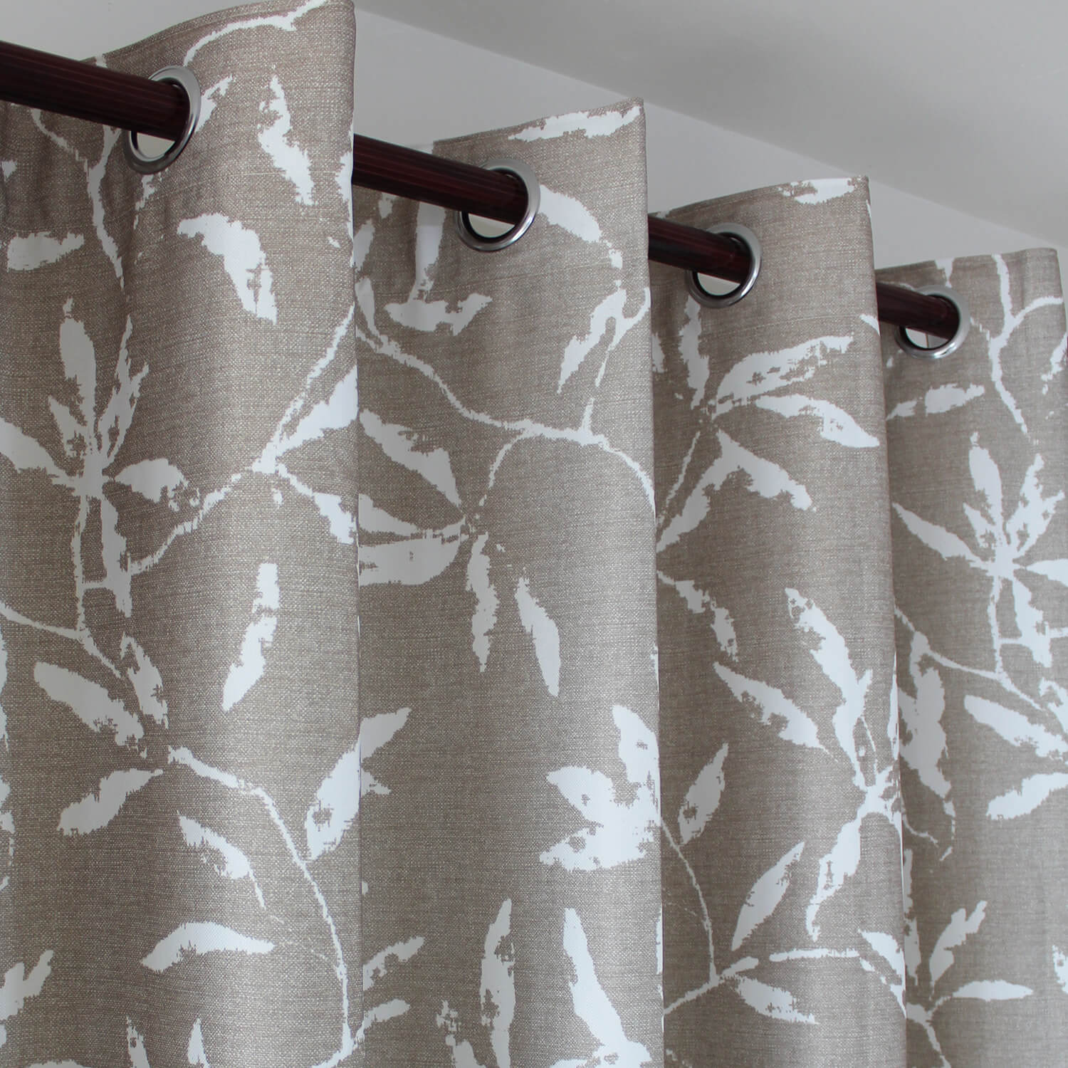 White Leaf Tan Leaf Curtains for Bedroom 2 Panels Drapes - Anady Top Space Design