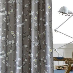 Tan plum blossom room divider curtain panels soundproof ceiling drapes