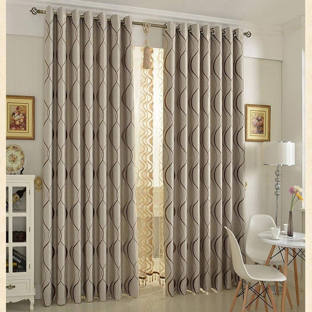 Tan wavy striped curtains for living room room darkening drapes for sale