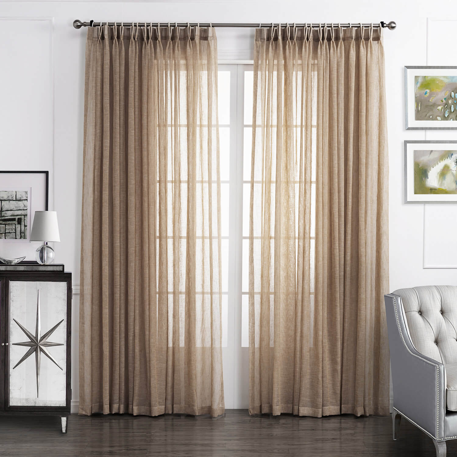 Tan Beige Linen Sheer Curtains For Living Room 2 Panels Anady Top