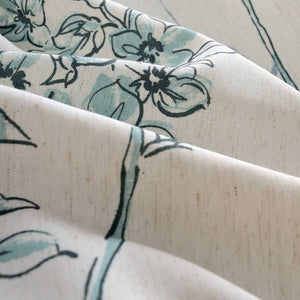 teal blue sage floral curtains kids cheap curtain panels
