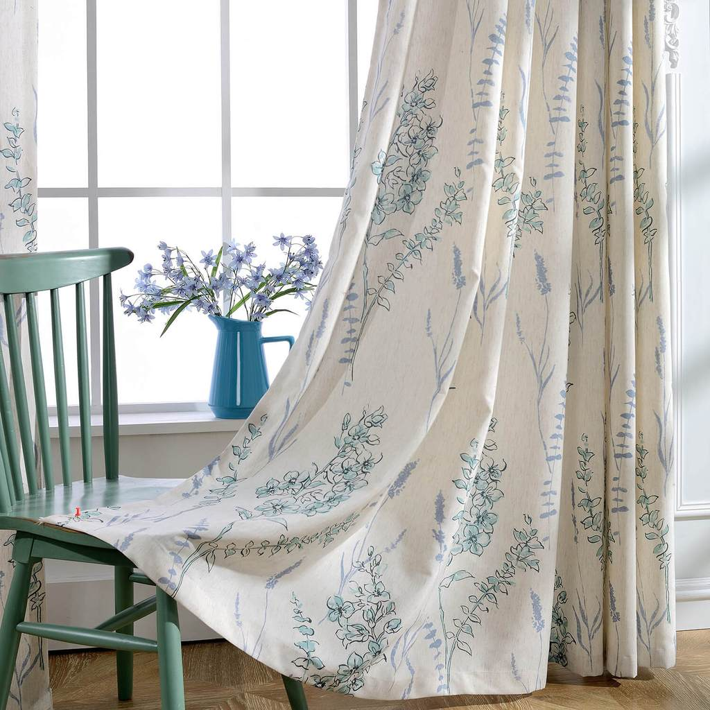 Anady Top Natural Linen Teal Blue Sage Curtains 2 Panel Drapes