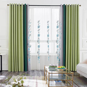 the su embroidery grass green drapes grommet window curtains for living room