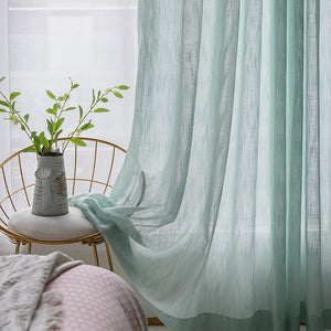 Aua Sky Green Sheer Curtains  Drapes for Bedroom 1 Set of 2 Panels - Anady Top Space Design