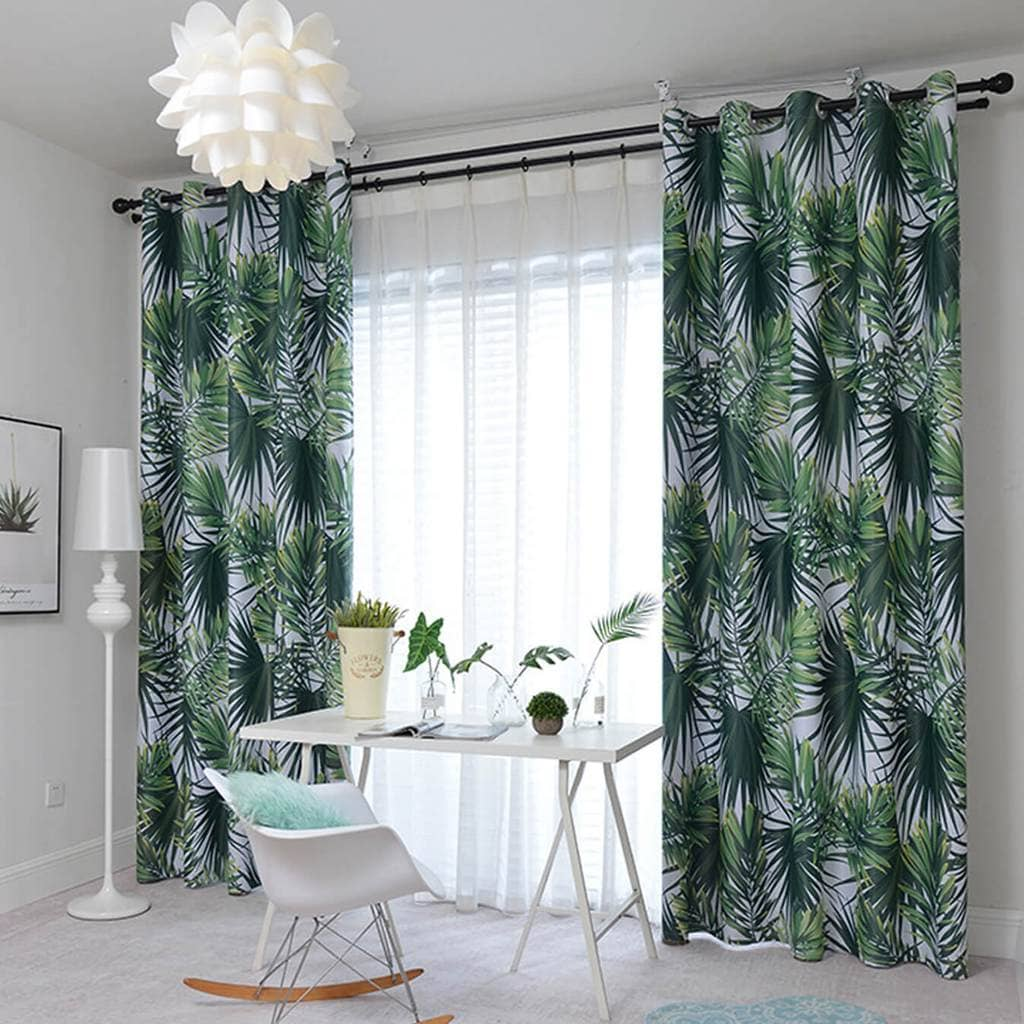 Green Leaf Curtains Blackout Jungle Pattern Drapes For Bedroom 2 Panel Anady Top