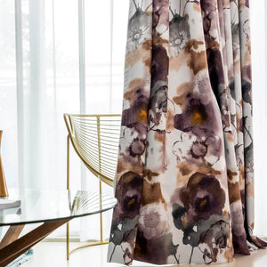 unique purple and brown drapes art watercolor dining room window curtains for sale