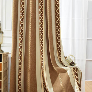 Vertical striped living room curtains room darkening pinch pleat drapes