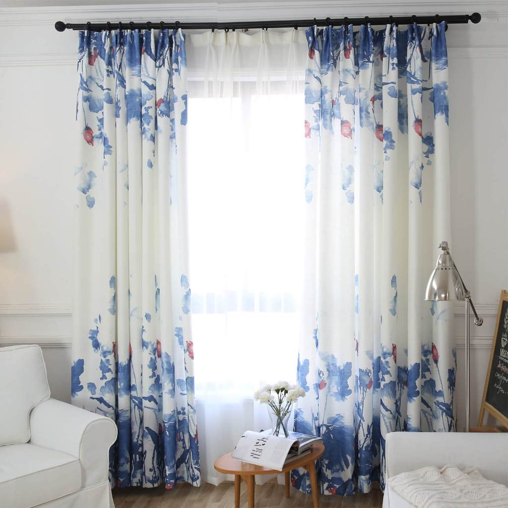Watercolor lapis blue lotus white curtains red flower art bedroom drapes
