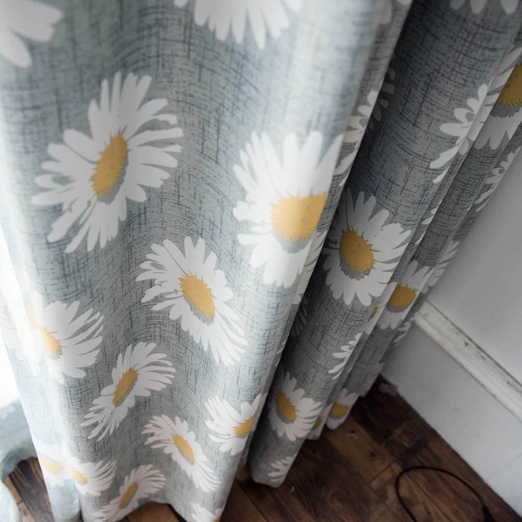 White daisy gray curtains ceiling blackout drapes for sale