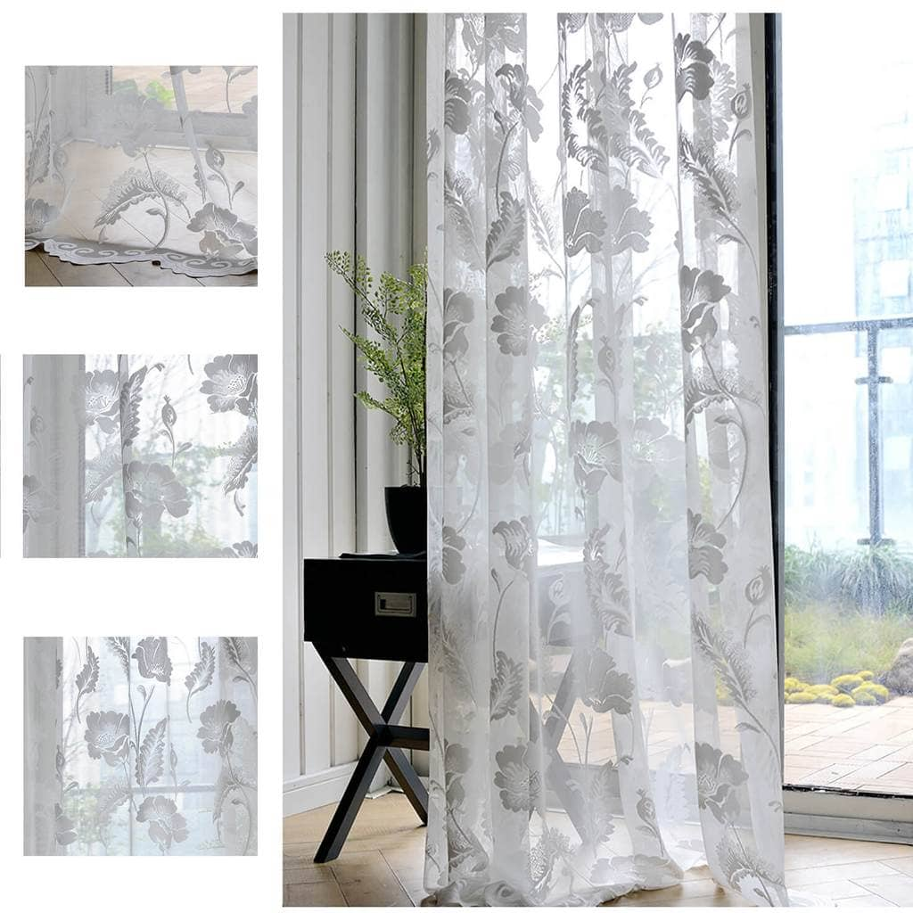 white floral sheer curtain panels for living room