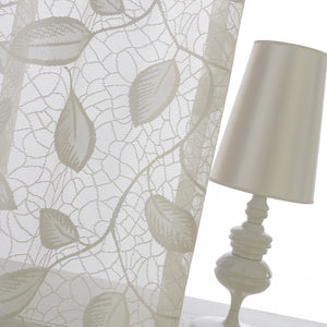 White Leaf Sheer Curtains for Living Room Bedroom Voiles 2 Panels
