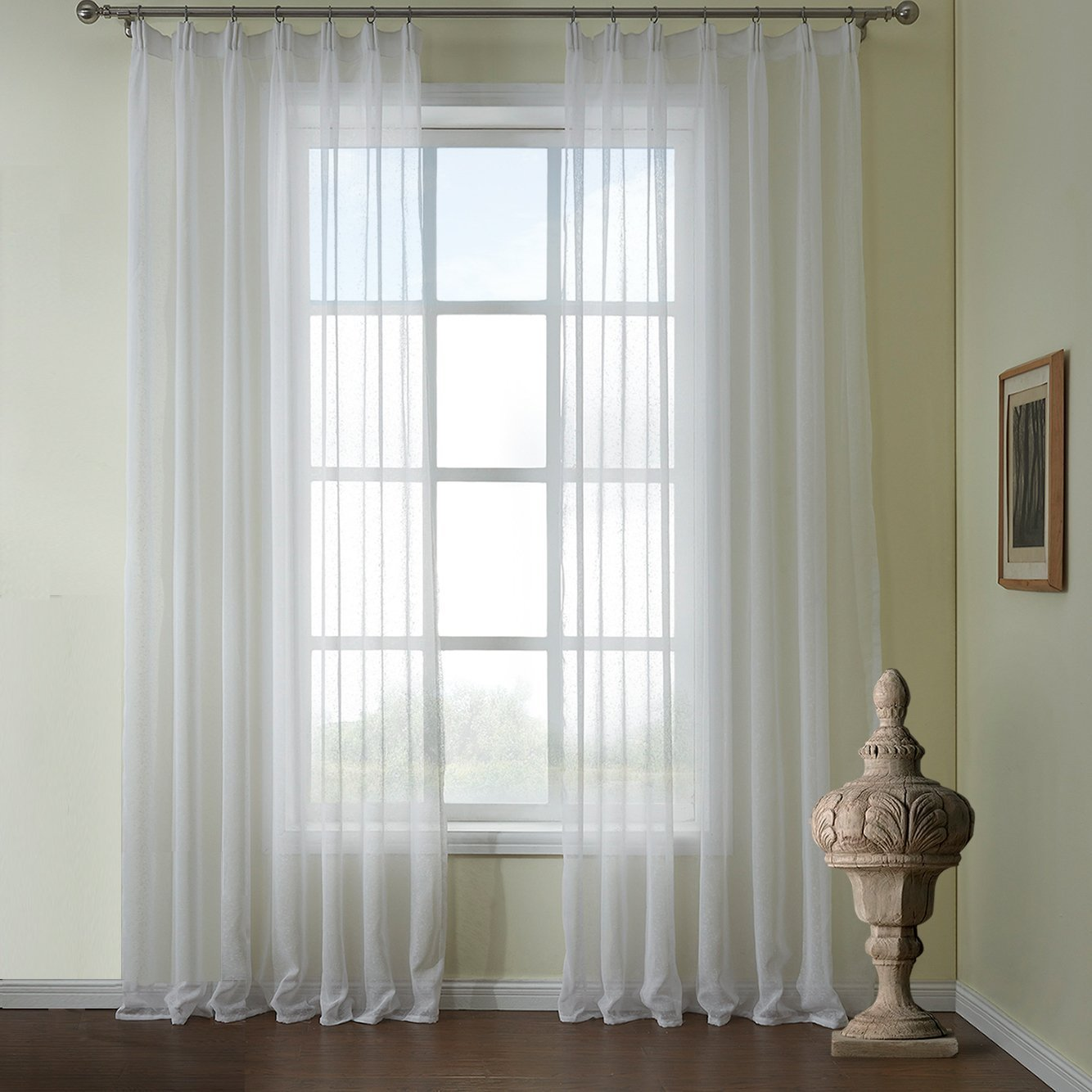 Anady Top White Sheer Curtains Imitation Linen Voile 2 Panels Decro Modern Simple Style - Anady Top Space Design