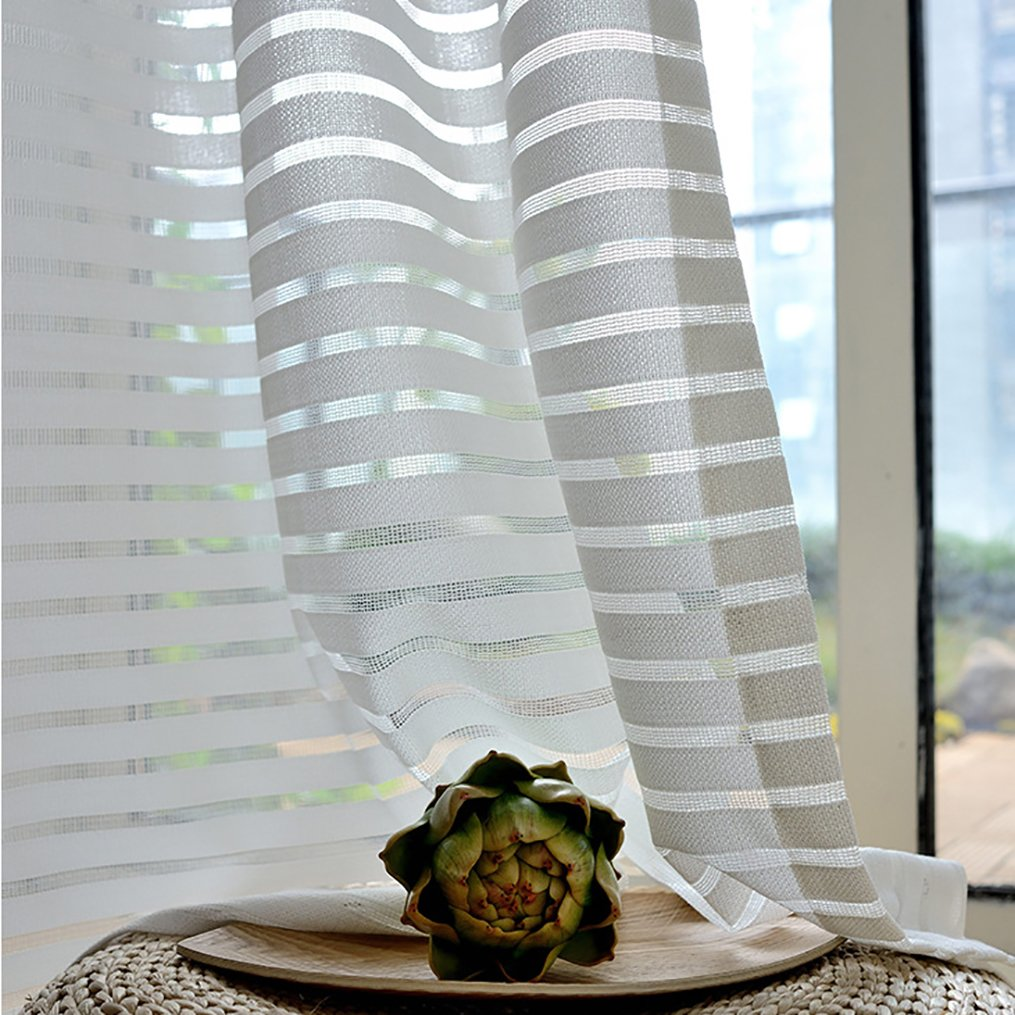 Ivory White Striped Sheer Curtains Cross Striped Sheers – Anady Top