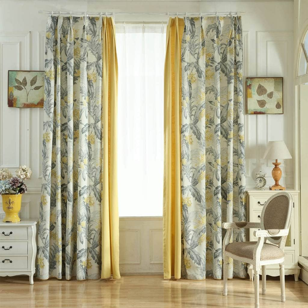 yellow and grey floral stitching curtains living room drapes for sale