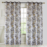 Yellow Birds Gray Leaves Curtains for Living Room 1 Set of 2 Panels - Anady Top Space Design