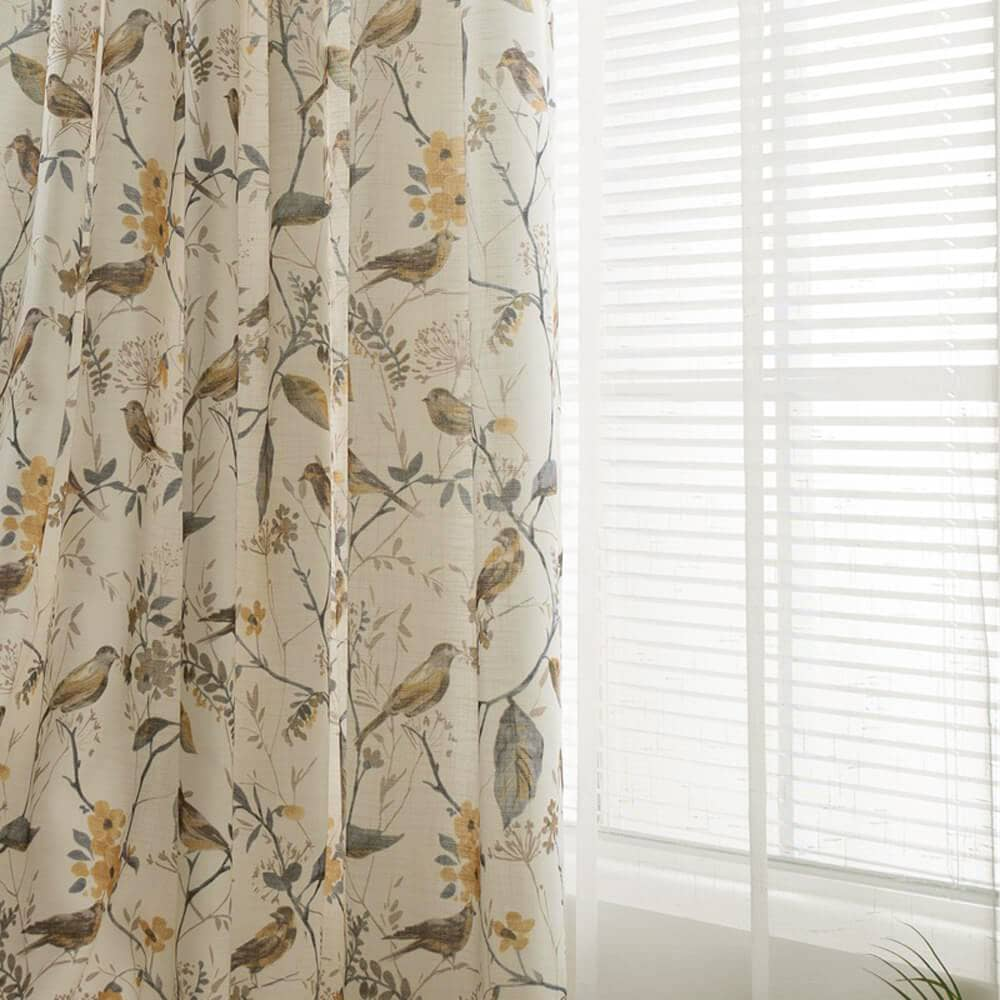 yellow flower birds window curtains kids bedroom insulated drapes