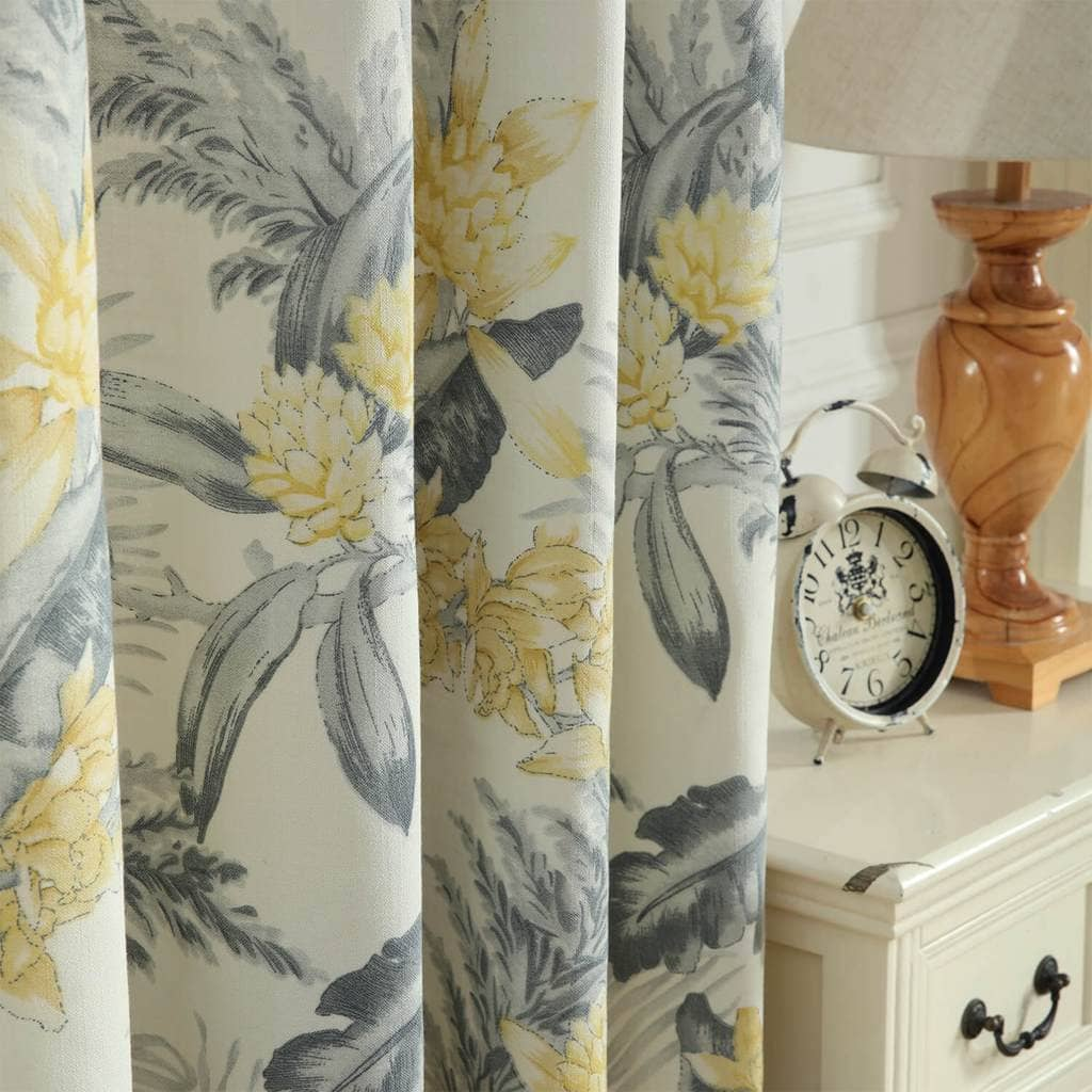 yellow flower grey botanical patterned curtains dining room custom drapes