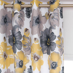 yellow flower grommet curtains for bedroom