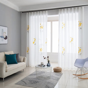 Yellow Flowers Hand-Painted Sheer Curtains Art Voile