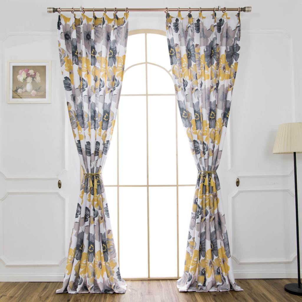 yellow gray floral curtains door pinch pleated drapes