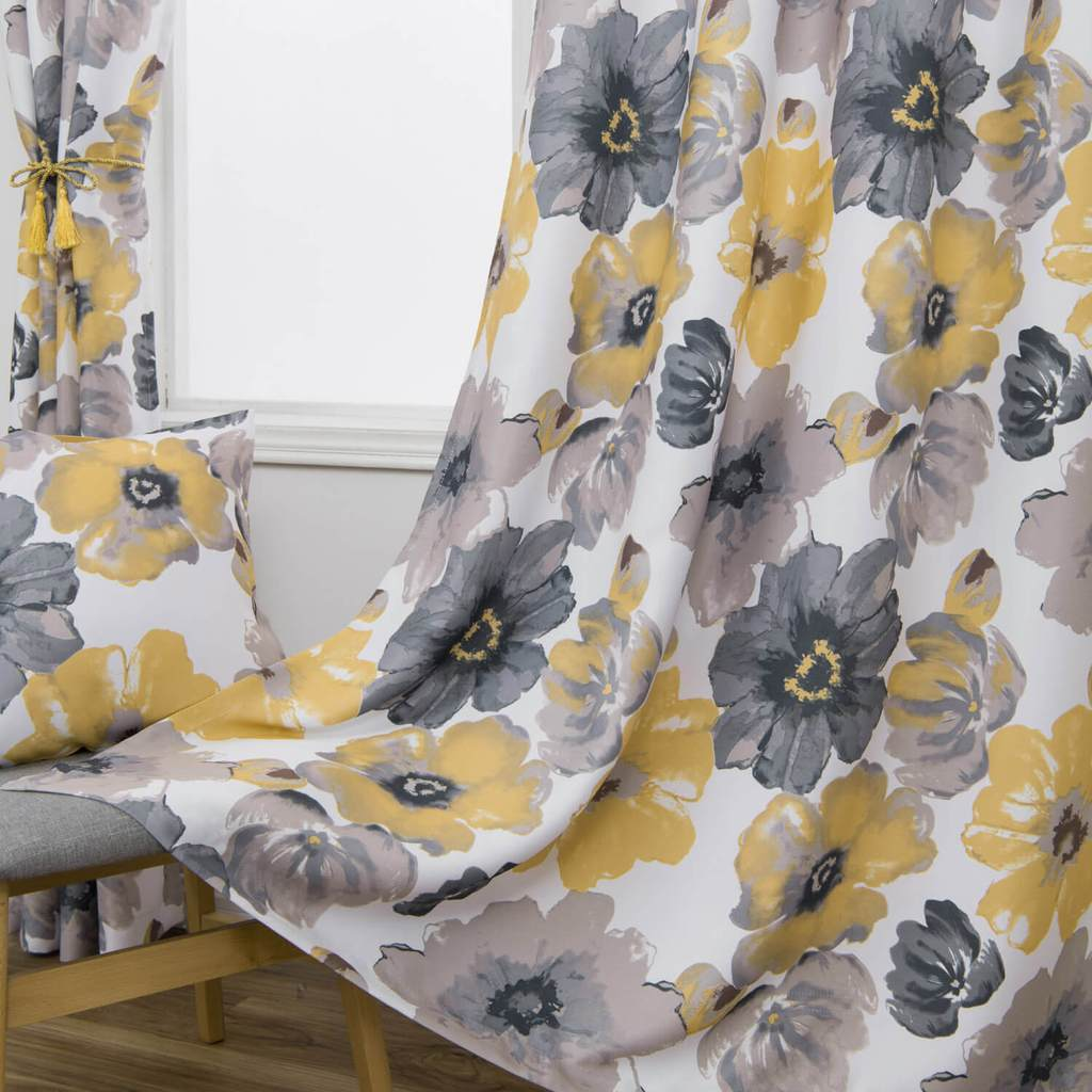 Yellow Gray Flower Curtains For Living Room Modern Floral