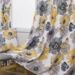 yellow gray floral curtains for kitchen