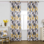 yellow gray flower curtains for living room