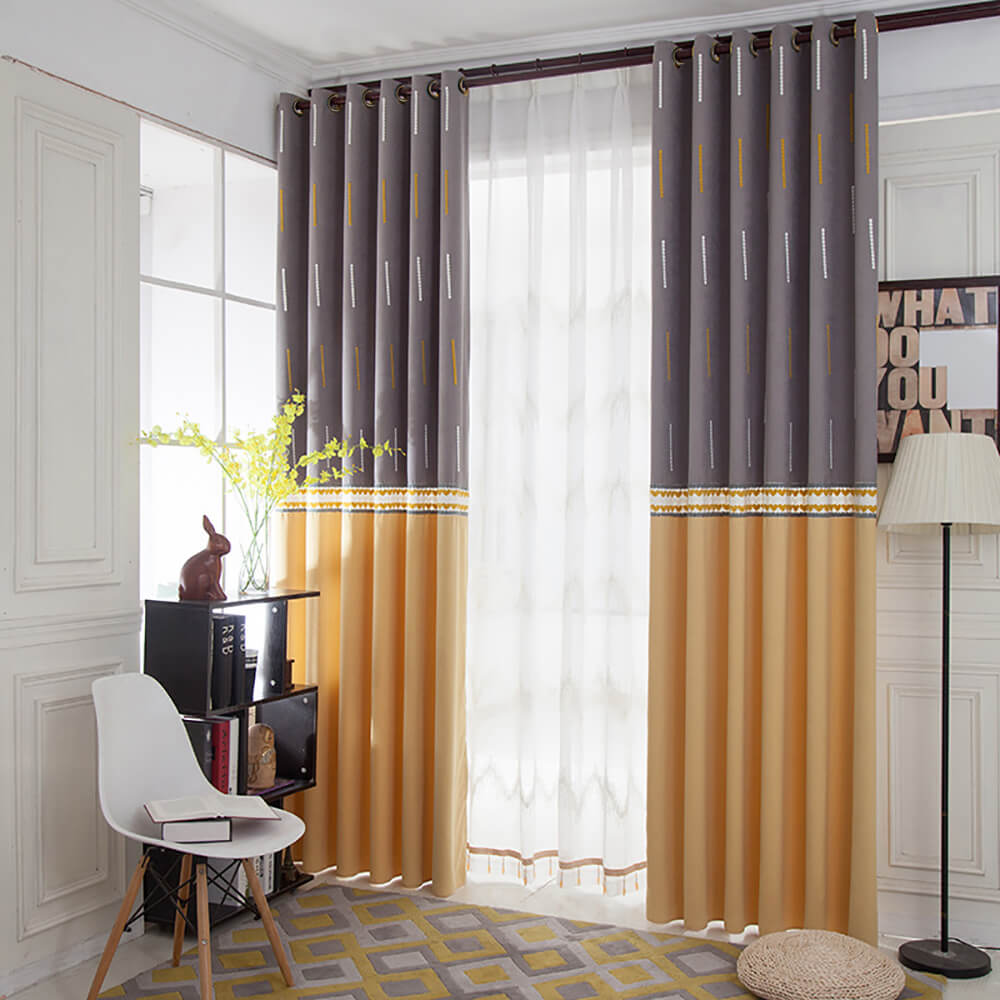 Anady Top Yellow Gray Curtains Bright Drapes for Bedroom 1 Set of 2 Panels - Anady Top Space Design