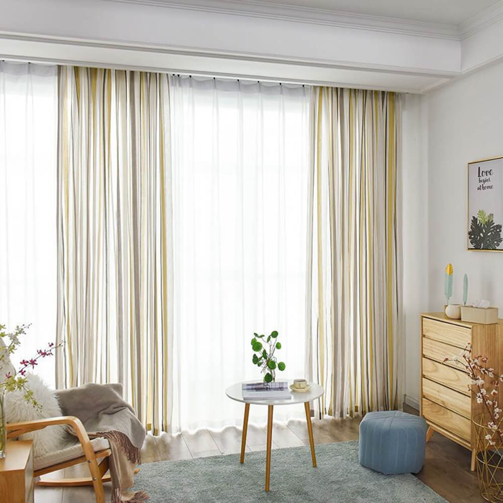 Yellow Gray Striped Sheer Curtains for Bedroom/Living Room 2 Panels