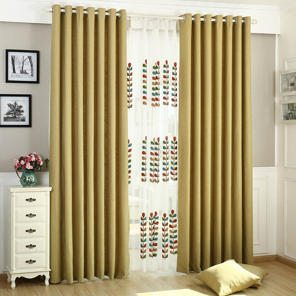 Solid Ginger Yellow Curtains Grommet Top Drapes for Bedroom Set of 2 Panels - Anady Top Space Design